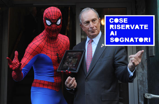 Mayor Michael Bloomberg and Spider-Man announce the creation of ÒSpider-Man, YouÕre Hired,Ó to help fight New York unemployment